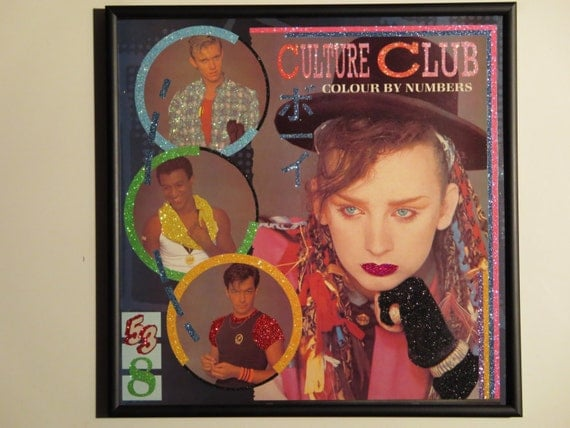 Glittered Record Album - Culture Club Boy George - Colour By Numbers