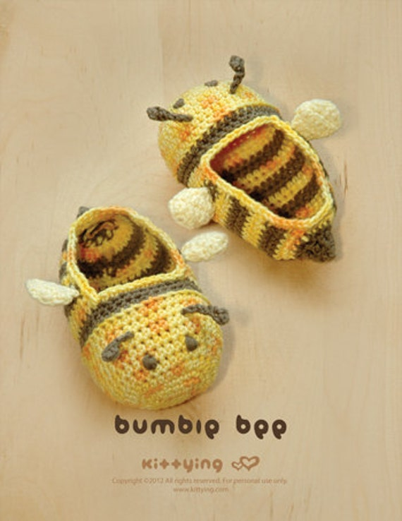 Bumble Bee Baby Booties Crochet PATTERN, Instant PDF Download - Chart & Written Pattern