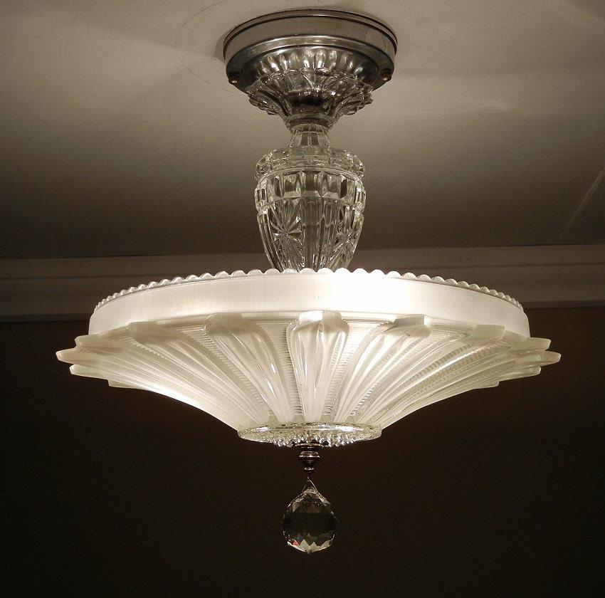 Vintage Light Fixture: Vintage Art Deco Antique SUNFLOWER PETAL Pressed Frosted Glass