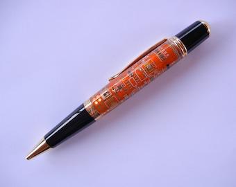 Orange Computer Circuit Board Pen with Gold Titanium