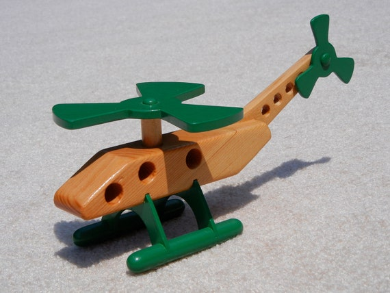 Wooden Toy Helicopter - Green