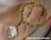 Lovely Flower necklace Peridot Citrine Aragonite Mother of Pearl Crystal Aventurine 14K GF 22K vermeil beautiful clasp carved