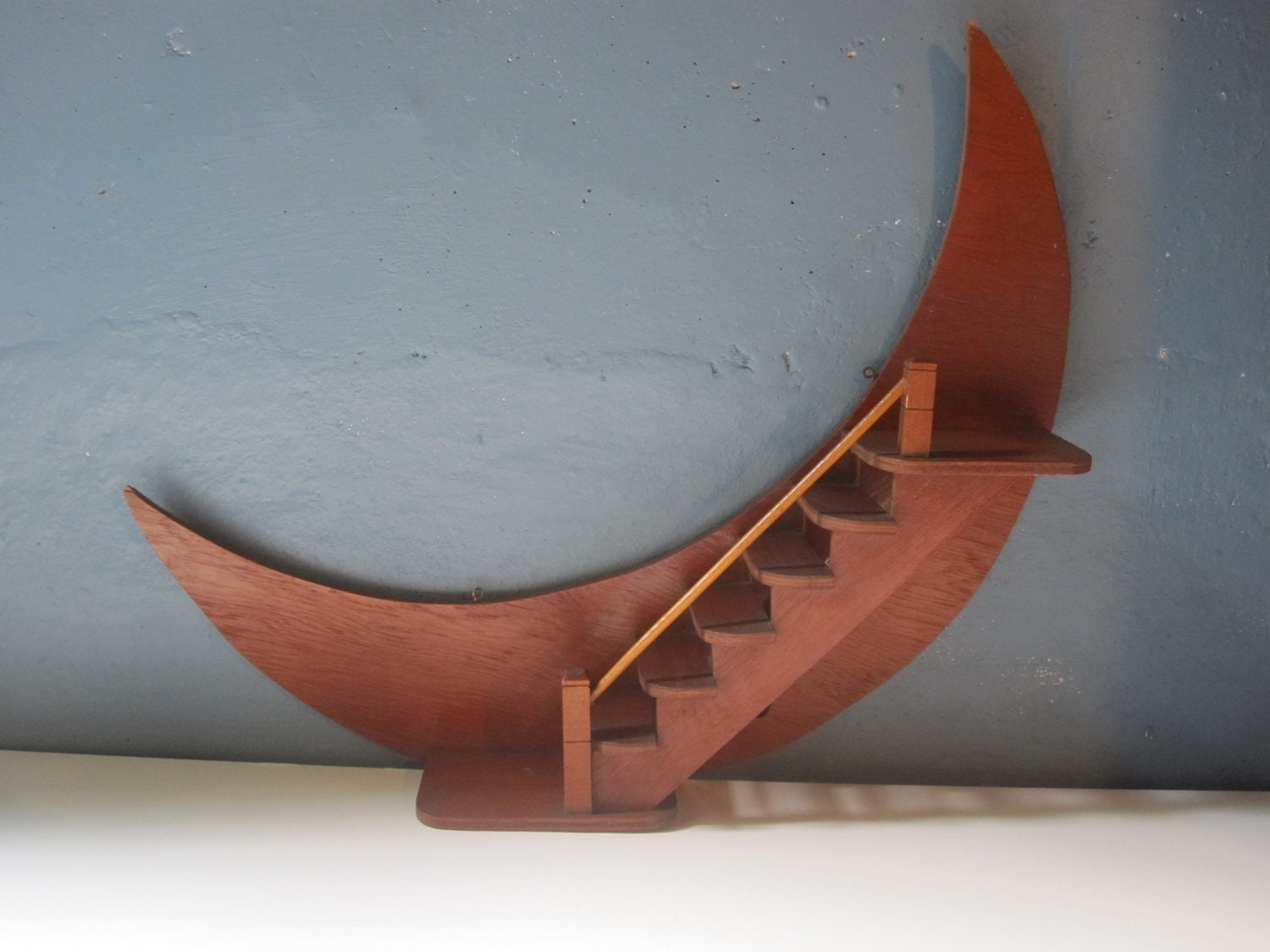 Vintage Crescent Moon Wooden Wall Shelf