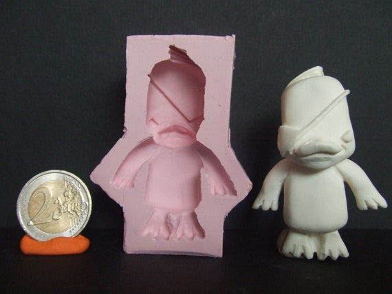 """Kawaii Chibi """"Evil Duck"""" Flexible Silicone Cabochon Push Mold For Polymer Clay (Sculpey/Fimo) Or Resin."""