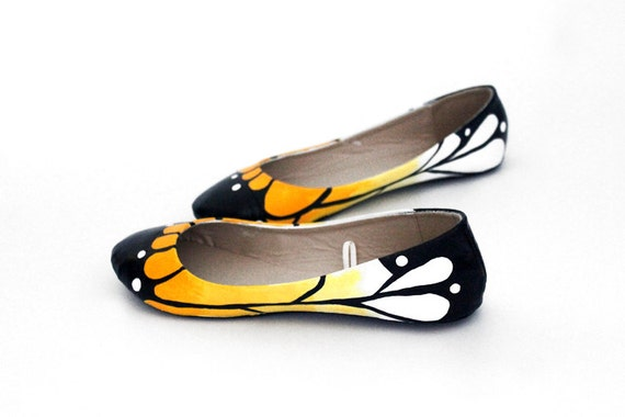 White & Gold Butterfly Ballet Flat Shoes