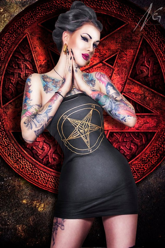 Hell on Heels Couture pentagram t-shirt dress - On hold for DARK ANGEL