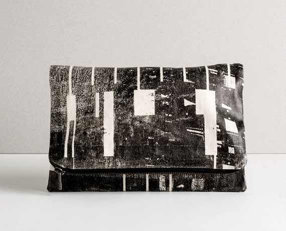Fold Over Zipper Clutch Screen Printed in Black Urban Pattern. Large Pouch. Free Worldwide Shipping