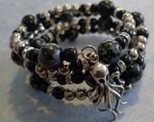 Snowflake Obsidian memory wire bracelet