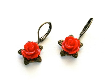 So Red Rose Dangle Earrings