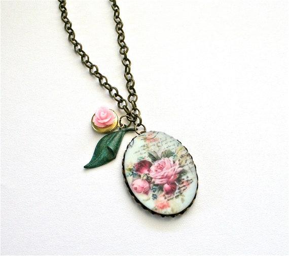 Vintage Rose Cameo Necklace, Locket Necklace, Spring Flowers Pendant