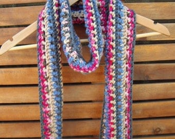 Multi-coloured crochet scarf