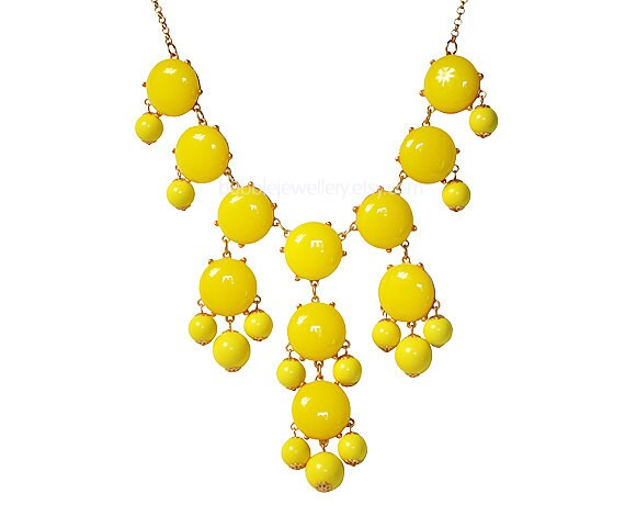 Bubble Necklace, Yellow Necklace, Statement Necklace