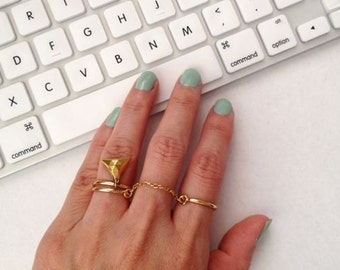 Double Finger Ring, Chain Linked Double Ring, Double Chain Ring, Gold Ring, Thin Ring
