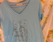 "Tarot Card T-Shirt ""The Star"" 100% Cotton Hand-Printed Tee"