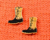 handpainted ceramic gum boot buttons x2