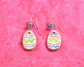 Handpainted ceramic Easter egg earrings w blue glass beads