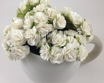 25 White Carnations Wedding Paper flower scrapbook card making home decor craft supply  15/CA1