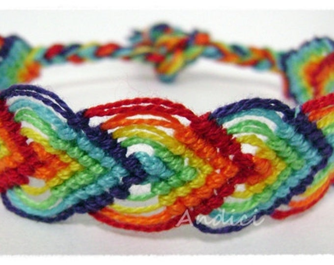 Friendship Bracelet - Colorful Chakra Bracelet, Knotted Macrame, Woven Wristband - Over the Rainbow