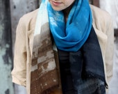 "Hand dye-painted merino wool scarf super soft: blue, bronze, charcoal, ""cobalt splash"""