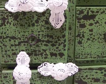 4-Vintage-Inspired Cast Iron White Knob-Dresser Drawer Pulls-Coat Rack Hangers