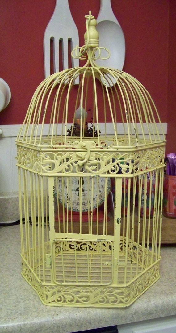Refashioned Shabby Chic Yellow Bird Cage-Wedding Card Holder-Chippy Paint