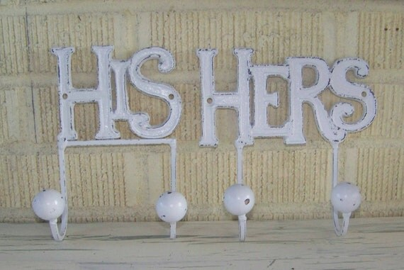 Distressed White His and Her Hooks-Wedding Gift-Robe Hanger-Shabby Chic Bathroom Decor