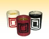 A handmade decoupage candleholder
