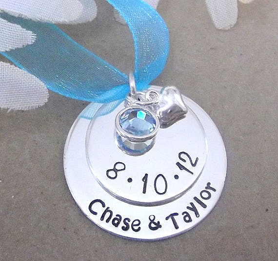 Bridal Bouquet Charm/Necklace-Something Blue- Bridal Shower Gift- Wedding Charm- Personalized Bridal Bouquet Charm-  Wedding Gift