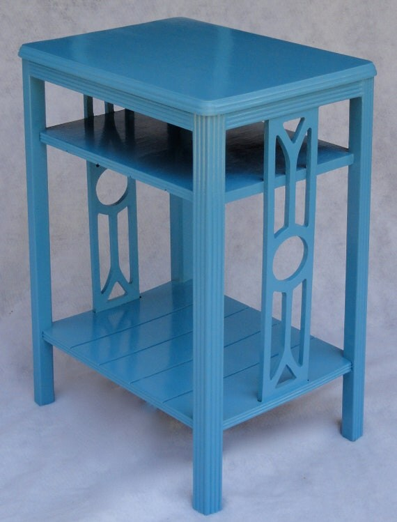 Upcycled Teal Painted Side Table / Nightstand / End Table / Accent Table