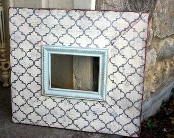 cream & metallic silver quatrefoil 5x7 distressed frame with robin's egg blue dot trim