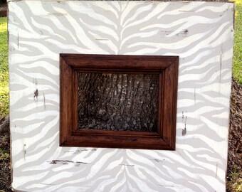 hand pianted zebra distressed 5x7 frame | animal print frame | birthday gift | bridesmaid gift | animal wall decor |zebra print custom frame