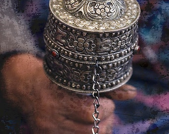"""Handheld Prayer Wheel - Bhutan/ Fine Art Print from the HarmonyWishes Collection/ 6"""" x 9"""" image on 8.5"""" x 11"""" paper"""