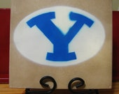 Hand painted airbrush tile - BYU - college
