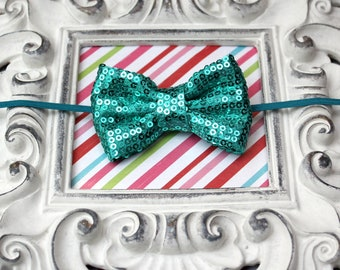 Baby Headband, Teal Baby Headband, Bow Headband, Teal Sequin Bow, Teal Hair Clip, Baby Headband, Teal Baby Bow