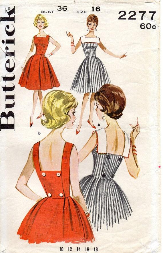 Butterick 2277 Vintage Misses' Dress Sewing Pattern - Size 16, Bust 36