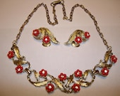 Vintage Dainty Red Floral and Rhinestone Necklace and Earring Set