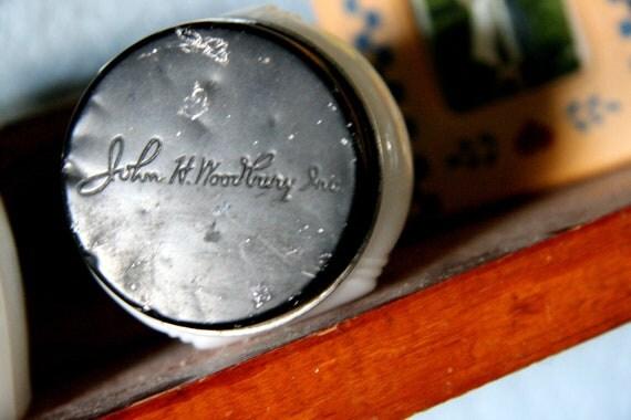 Vintage Beauty Cream  Jar - Milk Glass Jar