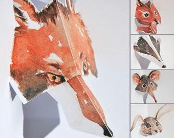 Pop up Cards - Set of 5 - British Wildlife Kirigami Cards (set 1) - Fox, Squirrel, Badger, Shrew & Rabbit - Print of watercolour artwork