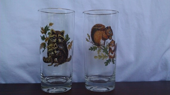 SALE-Pair of Woodland Animal Drinking Glasses