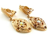 Rhinestone Earrings Vintage Jewelry Aurora Borealis - Exotic