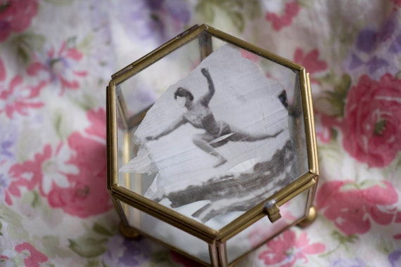 Vintage Glass Box with 1920's Photo Detail