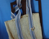 Handwoven Yellow Blue Tiki  Tote