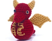 Chinese New Year Dragon Crochet Amigurumi Doll, Ready to Ship