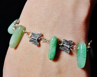 Silver and Gem Stone Butterfly Beaded Bracelet FREE SHIPPING USA