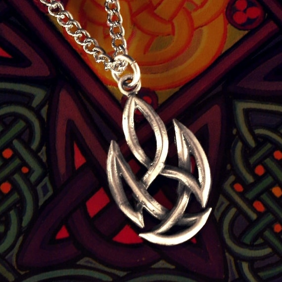 Unique Celtic Flame Woven Sterling Silver Knotwork Pendant with Chain or Leather Cord CP-61