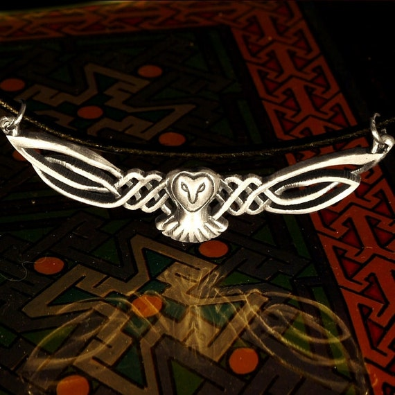 Sterling Owl Necklace, Celtic Owl Pendant, Silver Owl Necklace, Celtic Owl Barn Owl Wings, Labrynth Necklace, Jareth Necklace Owl Lover Gift