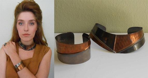 Vintage 1980's Set/Tribal Bib Necklace/  Bracelet Arm Cuff/ Hammered Copper/ Mixed Metal/ Large Statement Set