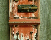 Country Red Key Holder With Vintage Keys and Hardware