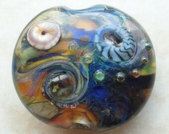UNIVERSE - OOAK Silver Glass Handmade Lampwork Focal Bead SRA