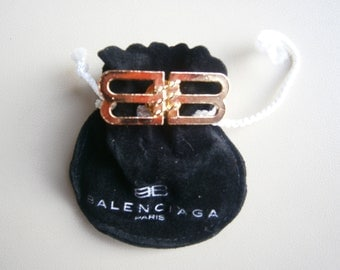 Vintage Balenciaga Double B Pin Brooch Badge BB